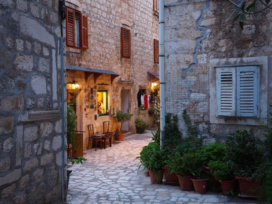 The charming stone streets of Hvar Town's historic centre.